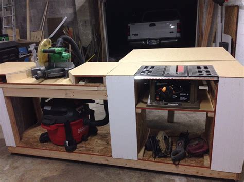 build miter saw bench ana white miter saw and table saw station diy projects