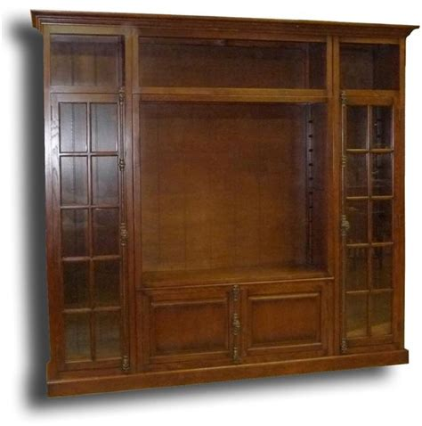 Oak Tv Cabinet With Glass Doors New Bookcase Tv Display Cabinet Antiqued Oak Wood Cremone Lock Glass Doors Ebay