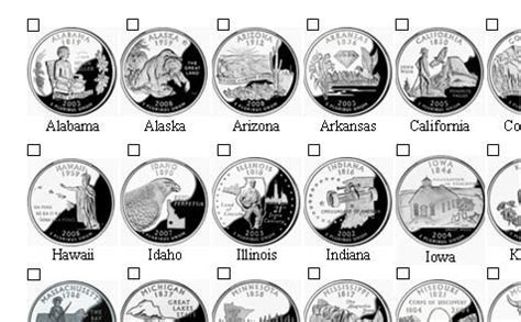 printable state quarter list collecting state quarters checklist click on image for
