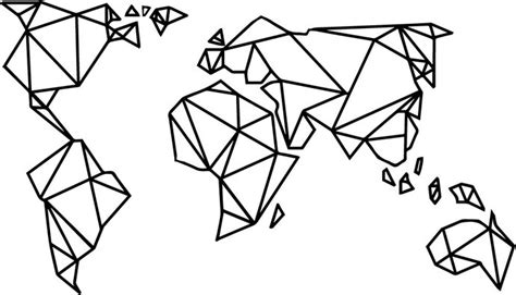 Map Of The World Wall Sticker geometric world map wallsticker edgy totalvinyldesign