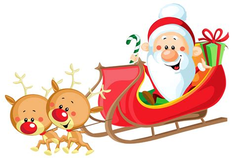 Santa Clipart With Sleigh santa sleigh clipart transparent clipartxtras