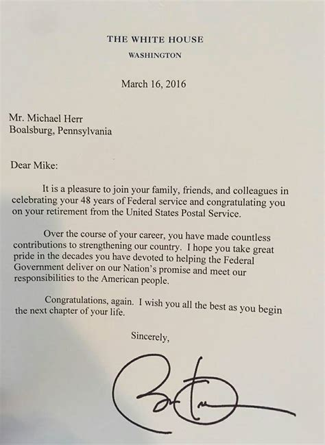 Wedding Congratulations From President by Mike The Mailman Receives Congratulatory Letter From