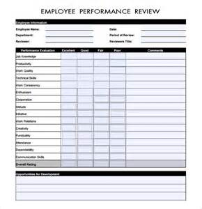 employee evaluation template sle performance evaluation 7 documents in pdf word