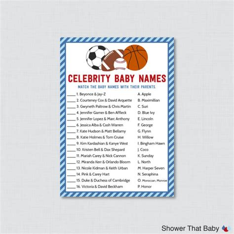 theme names for games sports themed baby shower celebrity baby names game printable