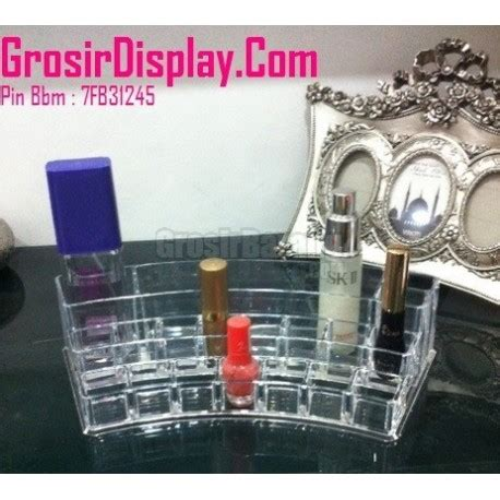 Akrilik Tempat Kosmetik Display Make Up Akrilik Make Up display perlengkapan make up kosmetik lipstik kutek oval grosir display