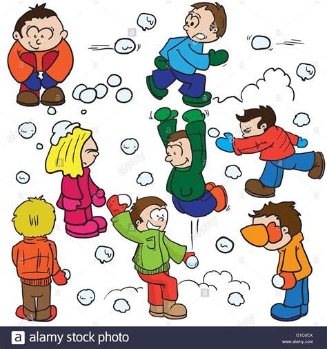 snowball clipart snowball fight illustration stock vector