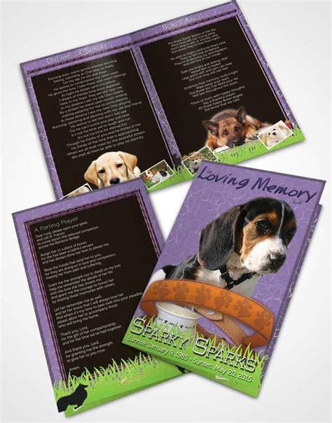 bifold order of service obituary template brochure purple
