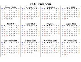 Calendar 2018 Print Free Printable Calendar 2018 Templates Print Calendar Template