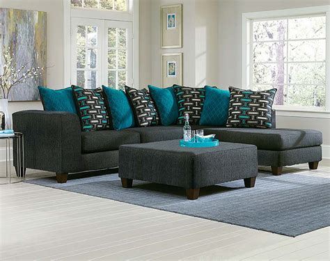Black, Two Toned Couch, Blue Pillows   Watson Big 2 PC
