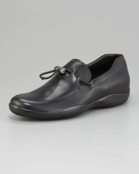 prada toggle loafers prada toggle loafer in black for lyst