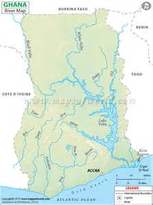 Description map showing the lake and river path in ghana