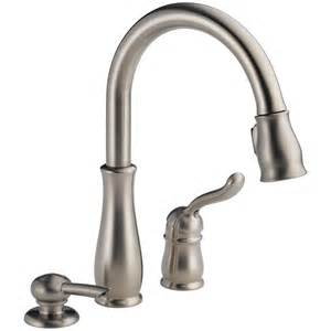 delta pull kitchen faucet shop delta leland stainless 1 handle pull deck mount