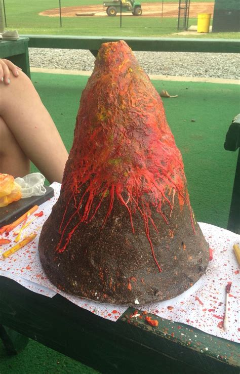 Handmade Volcano - volcano color made of wax from crayons