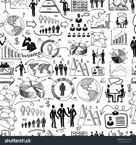 pattern of organization illustration sketch business organization management process seamless