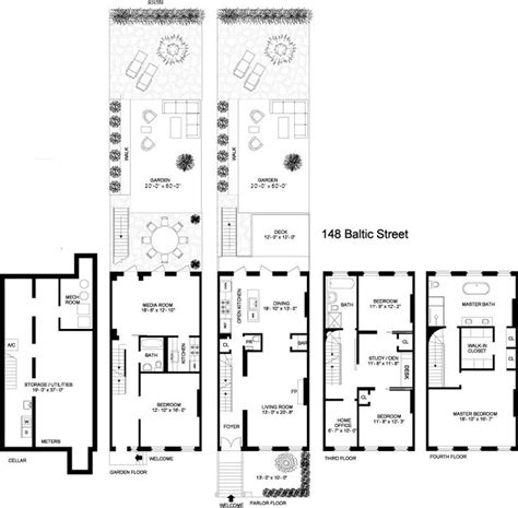 brooklyn brownstone floor plans 8 best brownstone floorplans images on pinterest 3 4