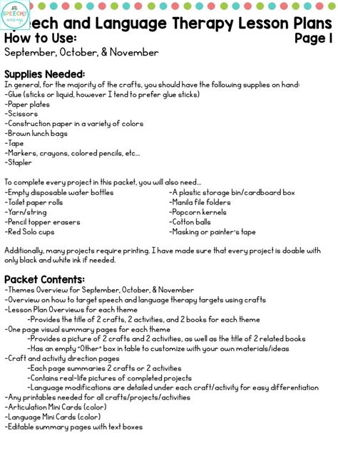 speech and language lesson plan template speech and language therapy lesson plans for back to