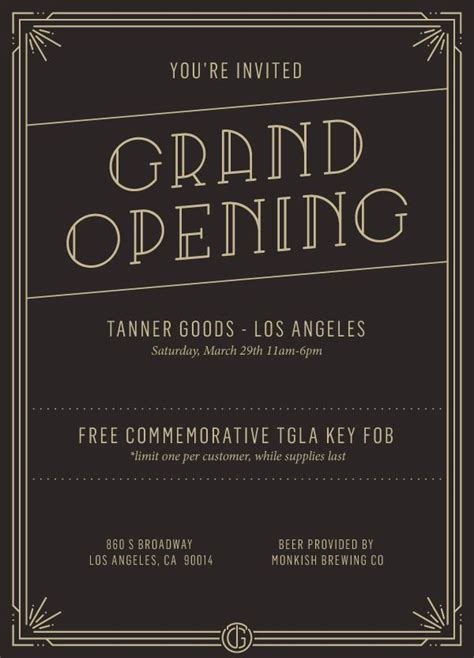new shop opening invitation tanner goods los angeles grand opening