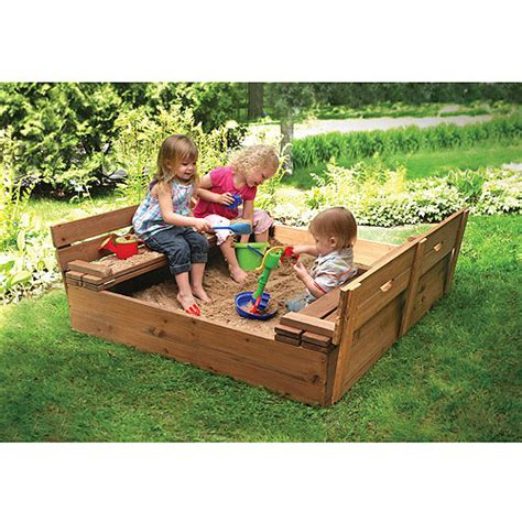 sandbox with benches badger basket covered convertible cedar sandbox with 2 bench seats walmart com