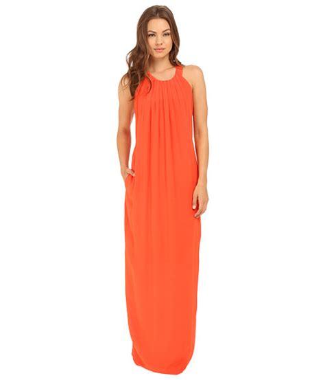 Rayna Maxi by Brigitte Bailey Rayna Maxi Dress With Pleats Orange