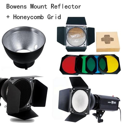 Barn Door Honeycomb Filter For Bowen Mount godox bowens mount reflector for studio flash bd 04 barn door honeycomb grid 4 color filter