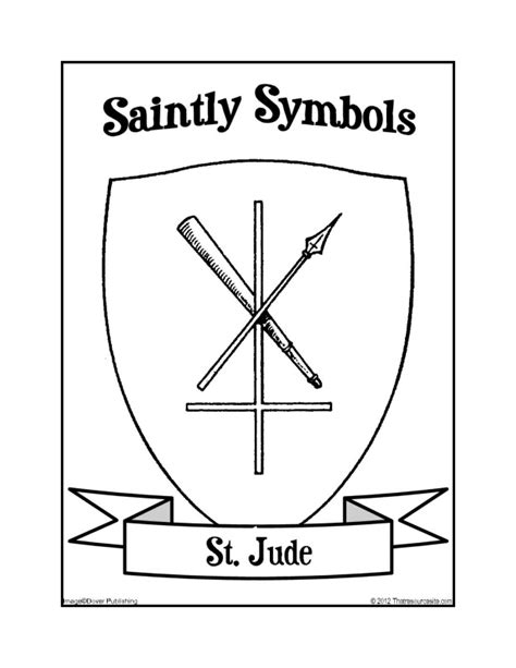 saintly symbols of st jude coloring sheet that resource