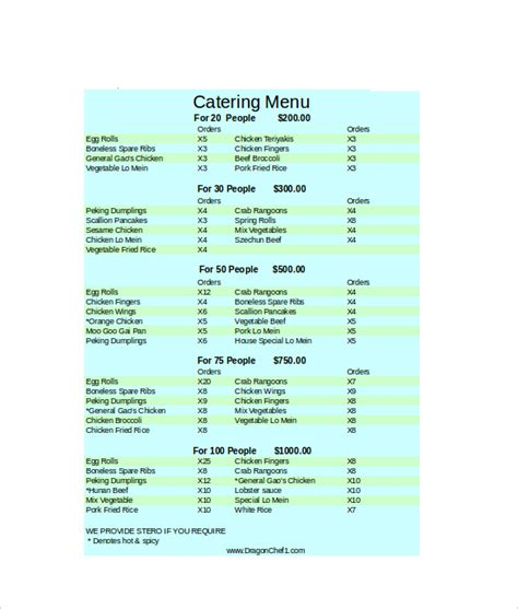 menu spreadsheet template 26 catering menu templates free sle exle format