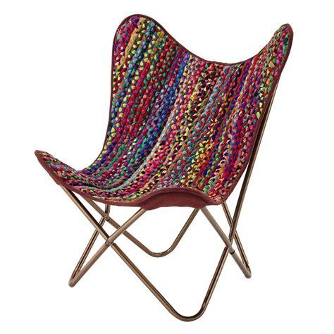 fauteuil tresse fauteuil tress 233 en coton recycl 233 multicolore flamenco maisons du monde