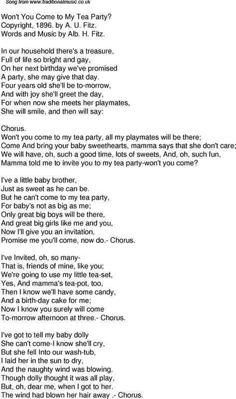 Old Time Song Lyrics for 54 Wont You Come To My Tea Party