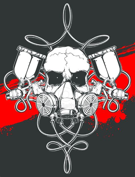 skull in respirator with spray gun stock vector