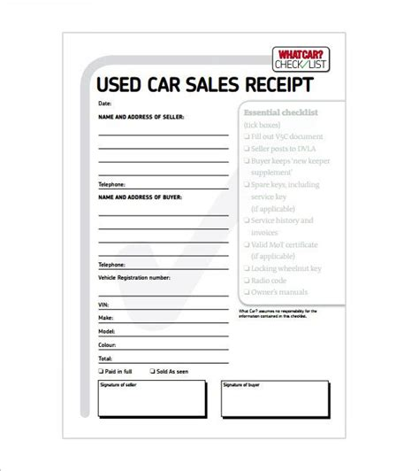 Receipt Of Purchase Template Vehicle by Car Sale Receipt Receipt Template Doc For Word