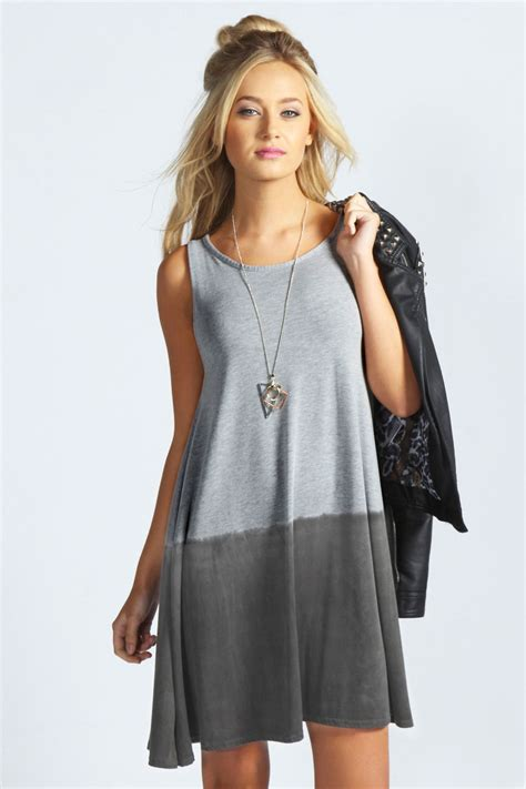 boohoo swing dress boohoo katie dip dye swing dress in grey marl ebay