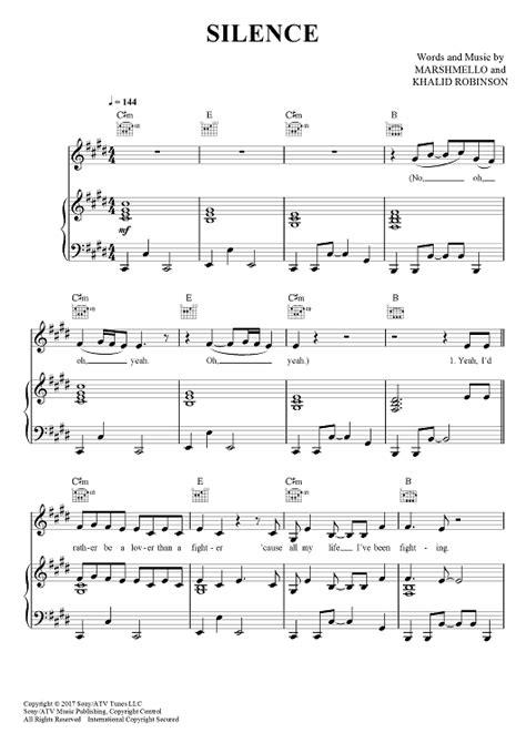 Silence   Digital sheet music, Silence, Printable sheet music