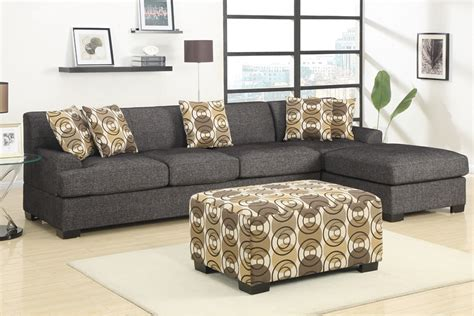 Black Fabric Sectional Sofas Retro Style Reversible Sofa Sectional Set Ash Black Fabric Ottoman