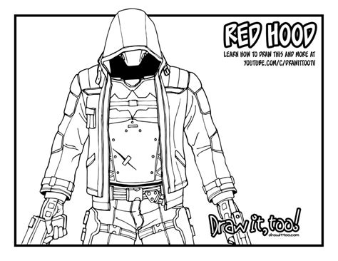batman red hood coloring pages red hood batman arkham knight tutorial draw it too