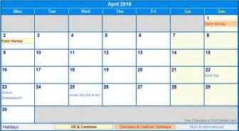 Calendar 2018 With Holidays Uk April 2018 Calendar With Holidays Uk Calendar Printable Free