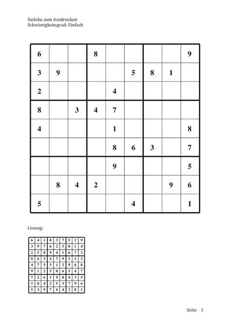 Sudoku zum Ausdrucken (leicht, mittel, schwer)   Muster