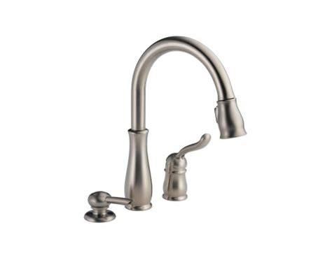 delta leland pull kitchen faucet kitchen sink faucets delta leland 978 sssd dst single handle pull kitchen faucet with soap