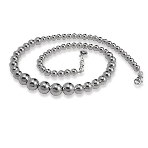 graduated silver bead necklace sterling silver graduated bead necklace