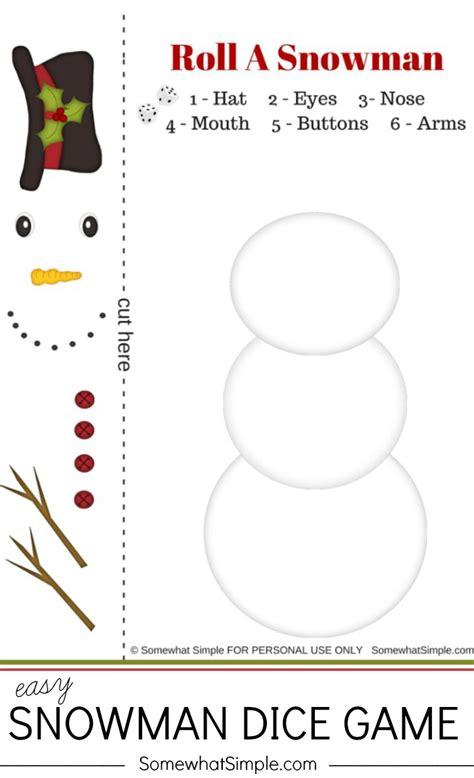 printable dice christmas game christmas easy snowman dice game see vanessa craft