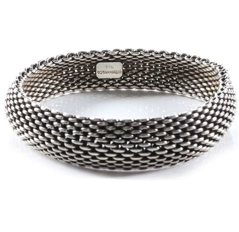TIFFANY & CO Sterling Silver Mesh Somerset Bangle Bracelet 39481