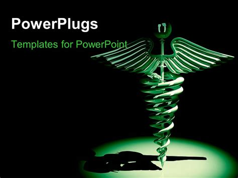 medical symbol powerpoint templates powerpoint template medical caduceus symbol in green on a