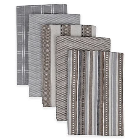performance 5 pack kitchen towels in grey bed bath beyond