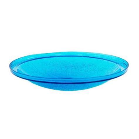 achla designs 14 in teal crackle bird bath glass bowl cgb
