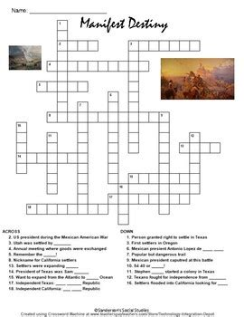 manifest destiny crossword puzzle worksheet by sanderson s