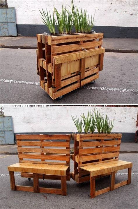 wooden bench with planters pallet planter with potting table 30 easy pallet ideas