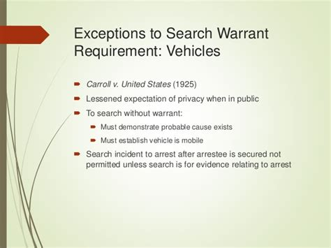 Exceptions To The Search Warrant Requirement Chapter 6 Power Point