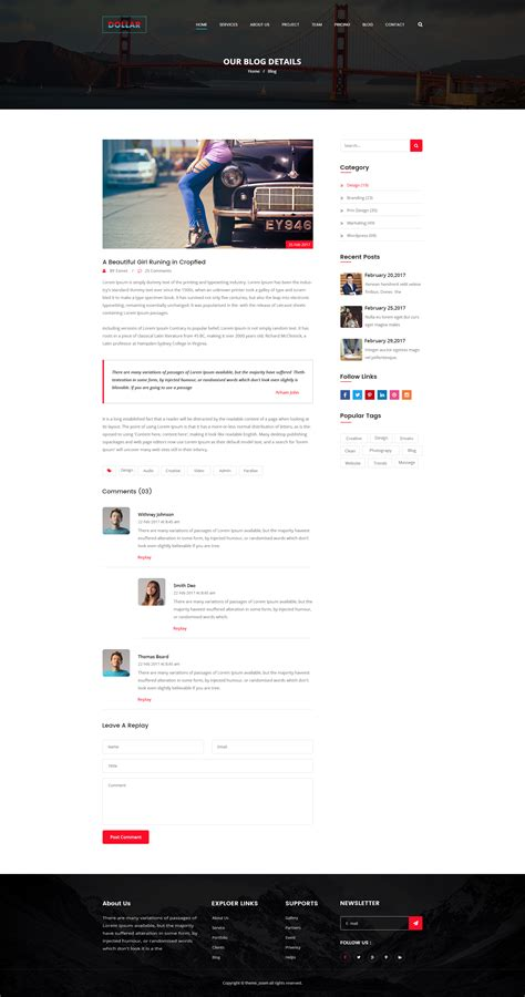 theme zoom blog dollar creative agency one page psd template by theme