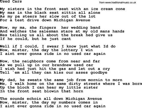 drive lyrics cars bruce springsteen song used cars lyrics