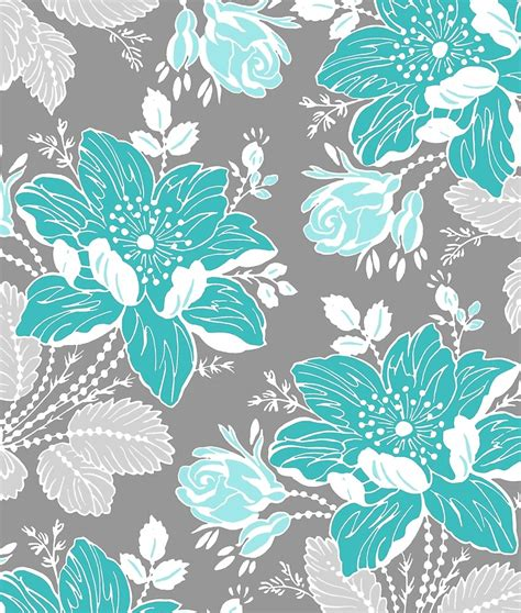 grey wallpaper with teal flowers quot teal grey vintage floral pattern quot by dreamingmind redbubble
