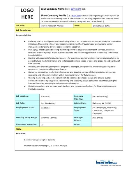 Market Research Analysts Description by Market Research Analyst Description Template By Bayt